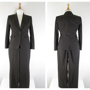 Tahari Brown Pinstripe Pant Suit Business Career
